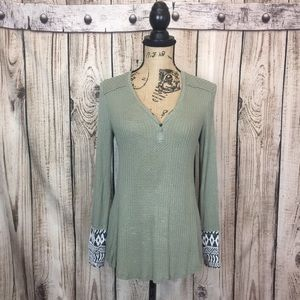 Knox Rose Green Waffle Knit Embroidered Top Small